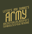 army alphabet with numbers and currency symbols vector image vector image