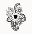 Beautiful Black and white flowers and leaves vector image vector image