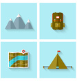 Camping adventure icons set flat design vector image vector image