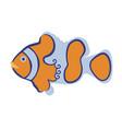 cartoon stylized clown fish hand-drawn vector image vector image