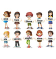 Children holding word cards with numbers vector image vector image