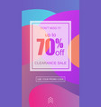 clearance sale flyer in trendy memphis style vector image