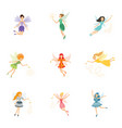 colorful set cute girly fairies with magic vector image vector image