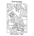coloring tiger vector image vector image