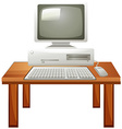 Computer set on the table vector image