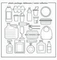 disposable tableware and plastic packaging vector image vector image
