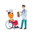 doctor attending old woman in wheelchair vector image vector image