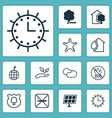 eco icons set with cloud cumulus sea star world vector image vector image