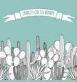 endless succulent cactus outline border vector image