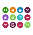Fitness circle icons on white background vector image vector image