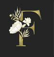 floral alphabet and gold serif letter vector image vector image