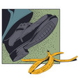 foot shoe about to slip on banana peel stock vector image vector image