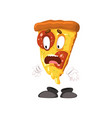 frightened slice of pizza funny cartoon fast food vector image vector image
