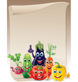 Funny vegetables company scroll vector image vector image