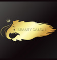 girl with crown golden symbol for beauty salon vector image vector image