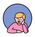 happy boy character thinking avatar icon vector image vector image