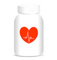 heart treatment pill bottle medicine vector image vector image