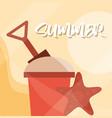 hello summer banner beach sand bucket shovel and vector image