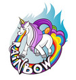 i believe in unicorns horse with horn drink tea vector image