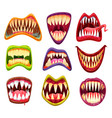 monster mouth with teeth cartoon jaws and tongues vector image vector image