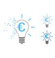 moving dot halftone euro idea bulb icon vector image
