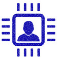 neuro processor icon grunge watermark vector image vector image