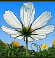 painted white flower close-up against the sky vector image vector image