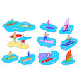 people surfing and windsurfing set cartoon vector image vector image