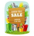 realistic garden tools poster vector image vector image