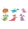 set cartoon images funny dragons of vector image vector image