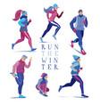 set men and women running jogging in winter vector image vector image