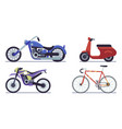 set moto bike bicycle scooter cross vector image