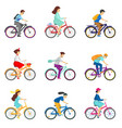 set of bicycle cyclists riding bikes isolated on vector image