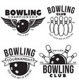 set of vintage monochrome style bowling vector image