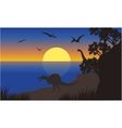 Silhouette of spinosaurus and pterodactyl vector image vector image
