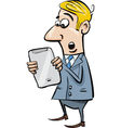 startled businessman with tablet vector image vector image