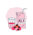 Strawberry milk graphic design with stylish milk vector image vector image