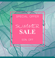 Summer sale banner poster with palm leaves