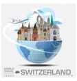 Switzerland Landmark Global Travel And Journey vector image