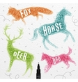 Tangled line deer color vector image vector image