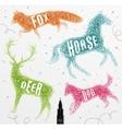 Tangled line deer color vector image