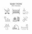 Thin line icons set of baby or infant first need vector image vector image