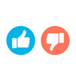 thumbs up and thumbs down circle emblems vector image