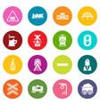train railroad icons set colorful circles vector image vector image