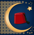 turkish traditional red hat fez or tarboosh with vector image vector image