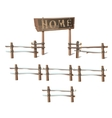 Wooden fence with a sign Home vector image vector image
