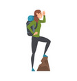 young woman with backpack standing on top the vector image vector image