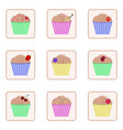 set of icons with images of cupcakes colorful vector image
