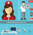Health care and Medical flat banners set with vector image