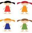 set of simple flat design girls in dresses vector image